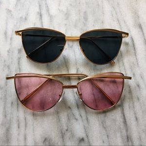 Modern Gold Frame Soapy Cat Eye Sunglasses Gentle